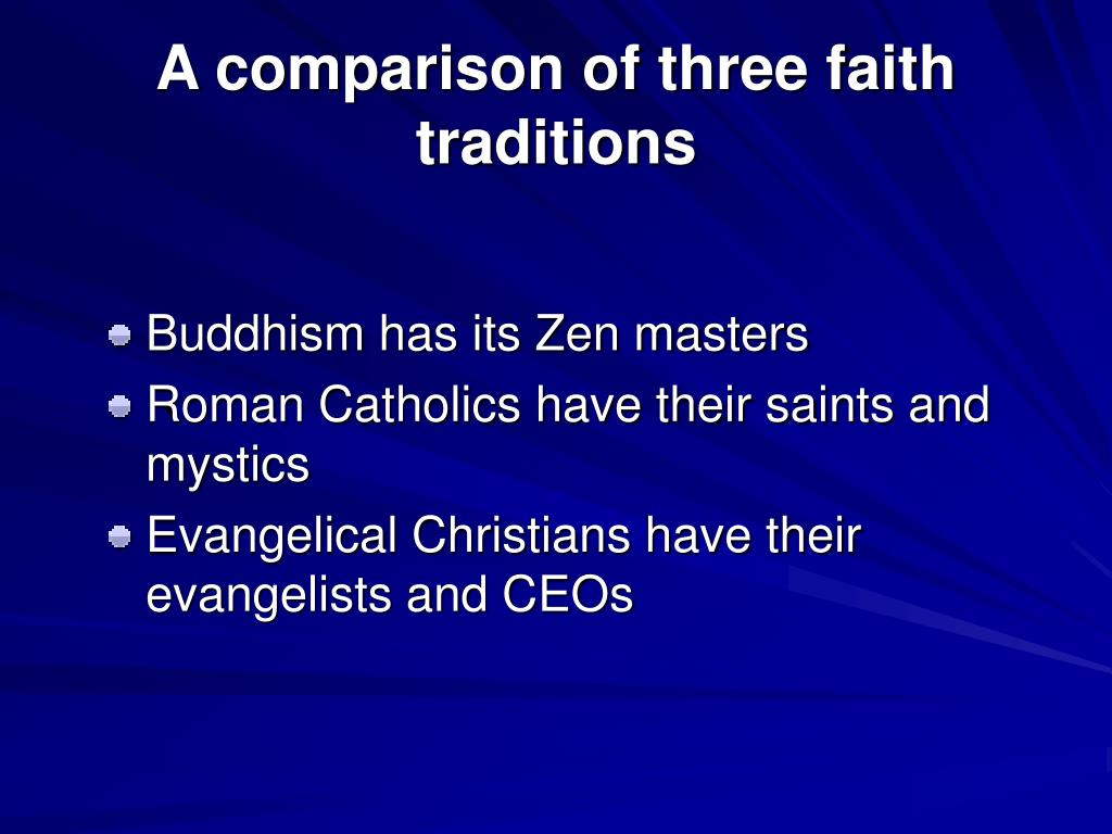 A comparison of three faith traditions