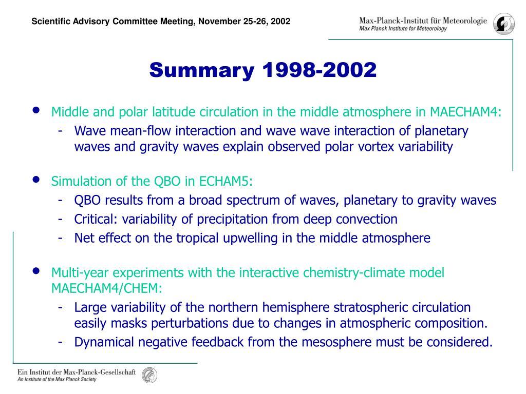 Summary 1998-2002