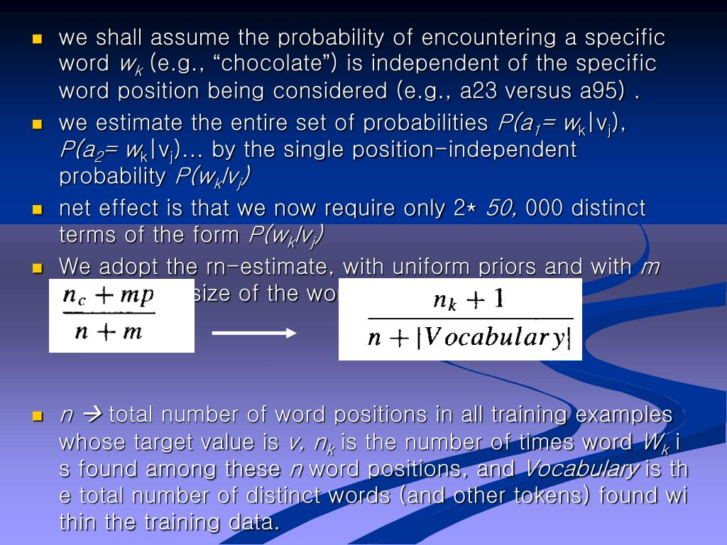 we shall assume the probability of encountering a specific word