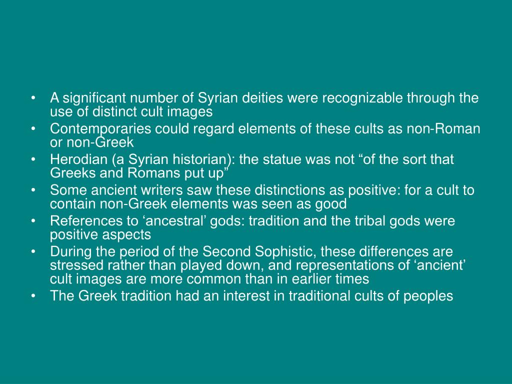 A significant number of Syrian deities were recognizable through the use of distinct cult images