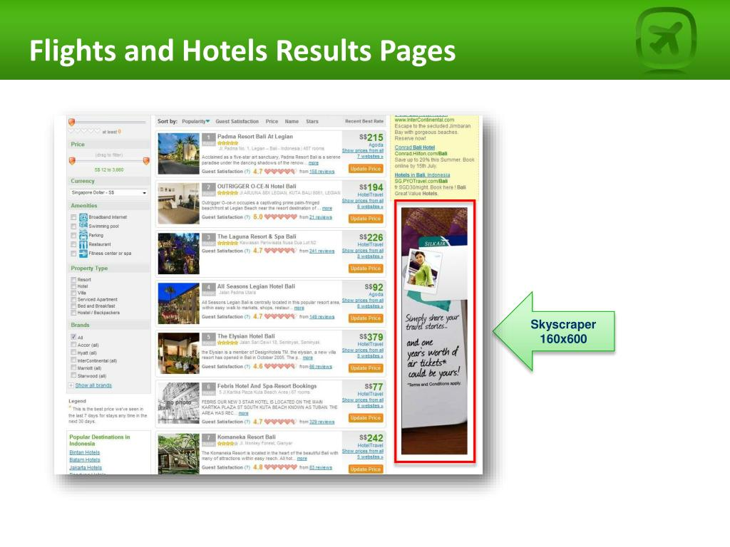 Flights and Hotels Results Pages