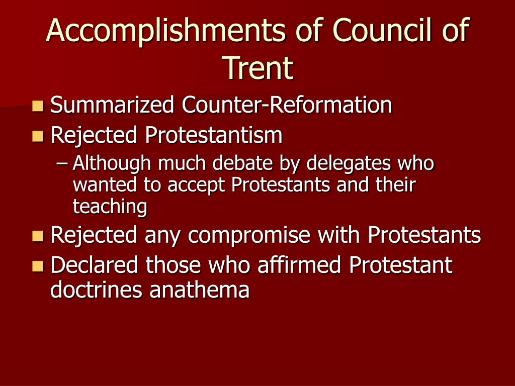 Accomplishments of Council of Trent