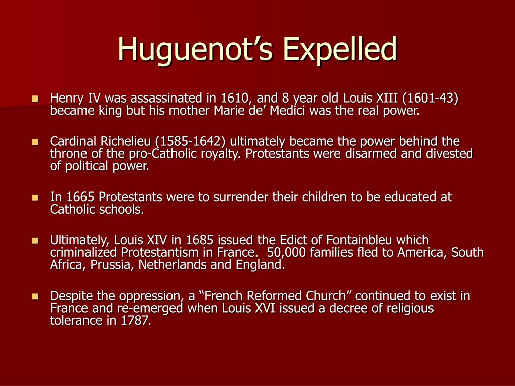 Huguenot's Expelled