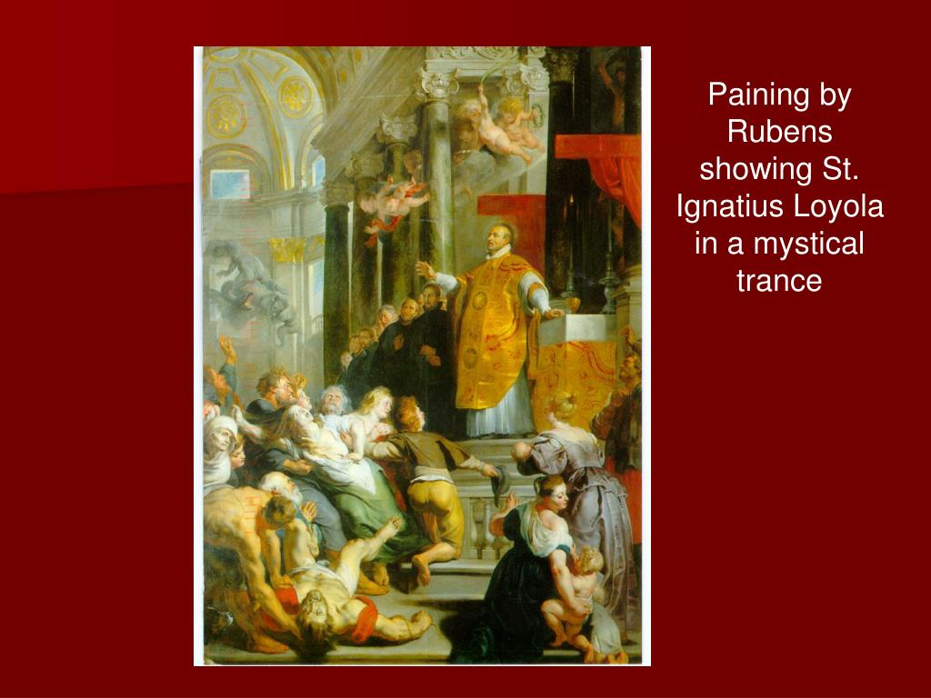 Paining by Rubens showing St. Ignatius Loyola in a mystical trance
