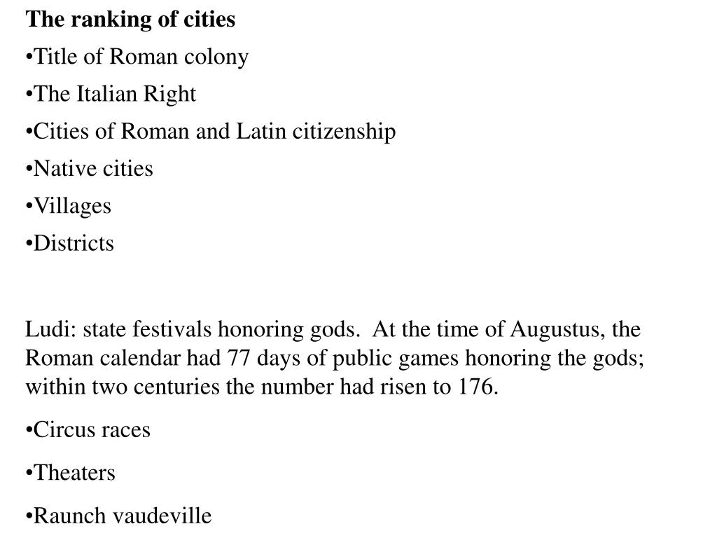 The ranking of cities