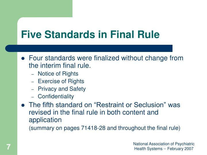 Five Standards in Final Rule