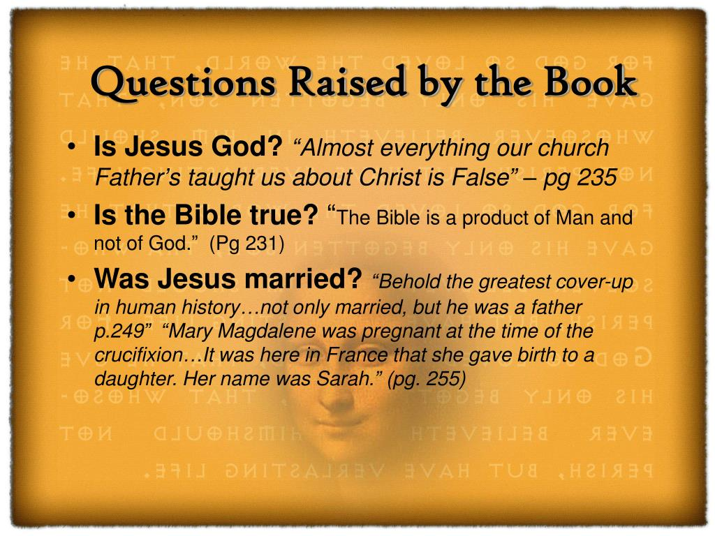 Questions Raised by the Book