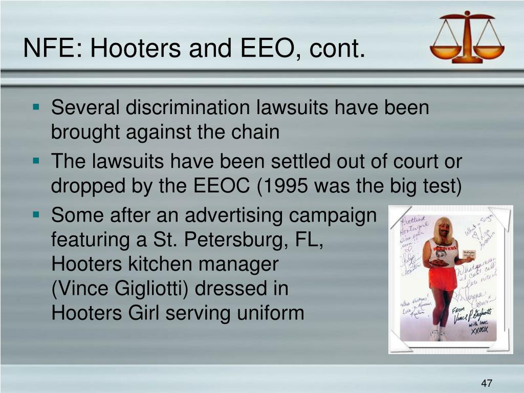 NFE: Hooters and EEO, cont.
