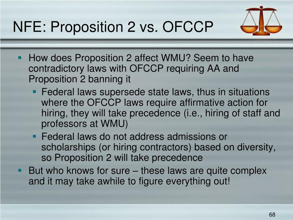 NFE: Proposition 2 vs. OFCCP