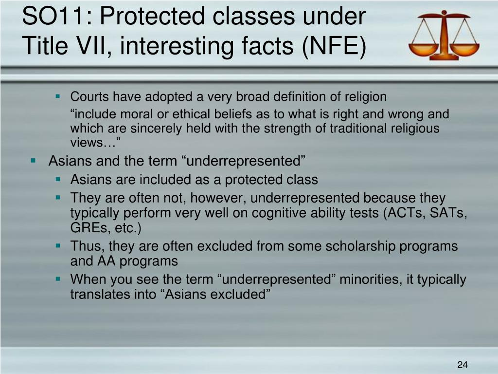 SO11: Protected classes under Title VII, interesting facts (NFE)