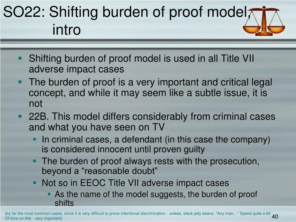 SO22: Shifting burden of proof model,