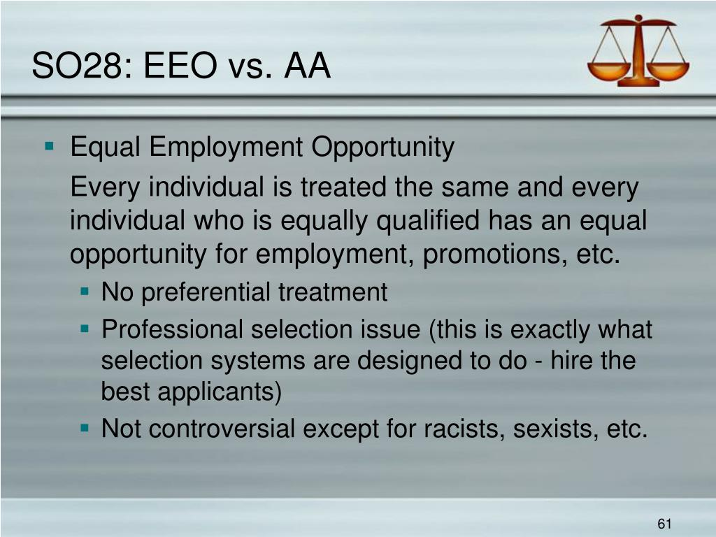 SO28: EEO vs. AA