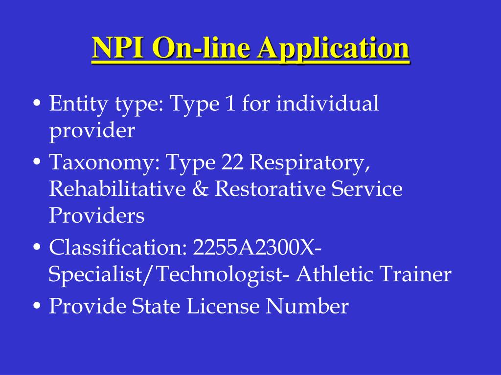 NPI On-line Application