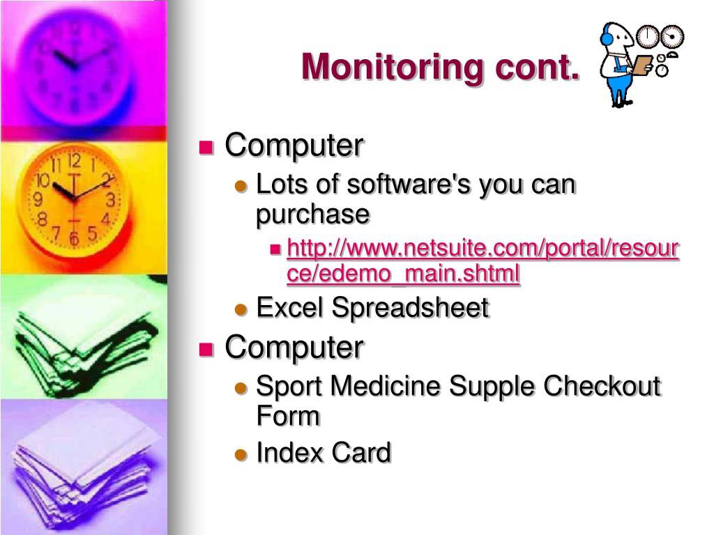 Monitoring cont.