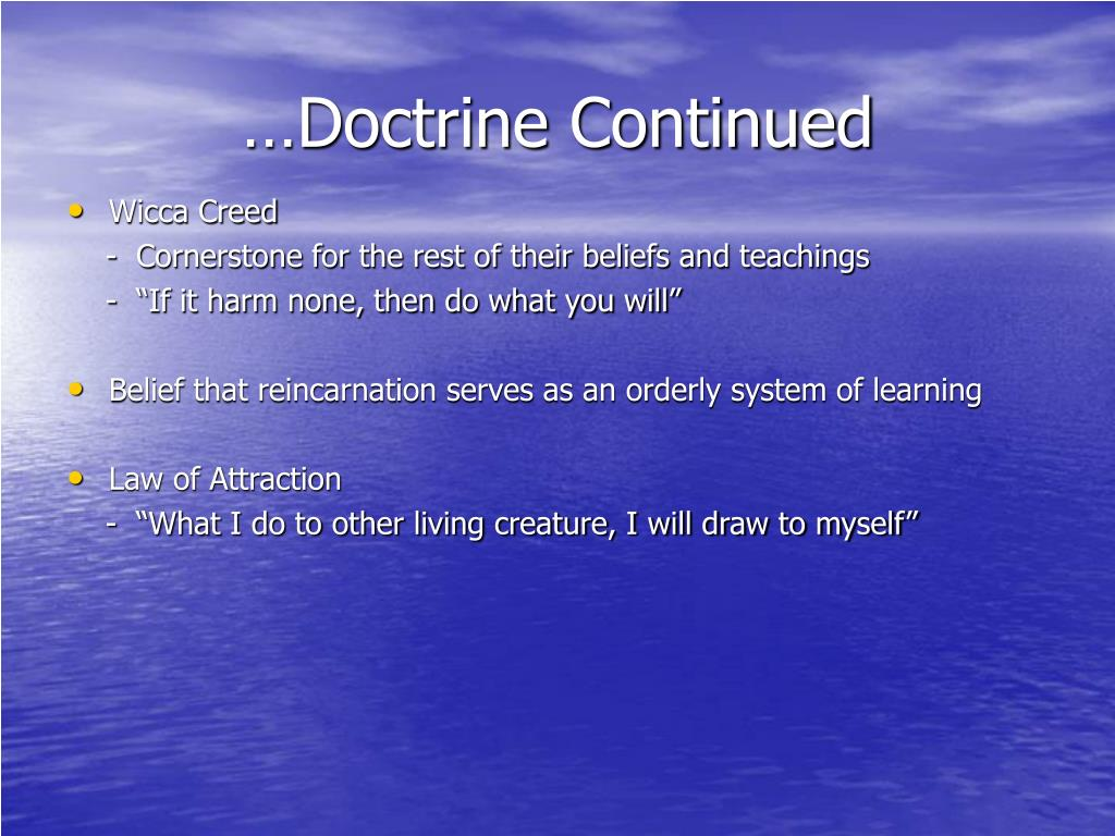 …Doctrine Continued