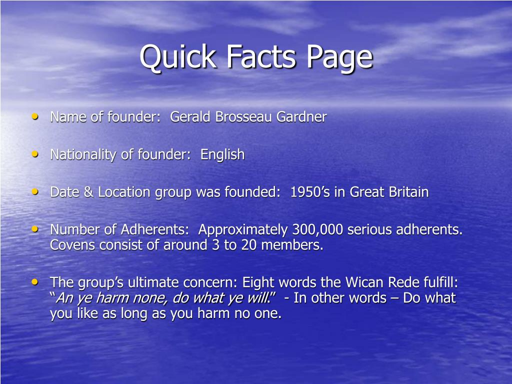 Quick Facts Page