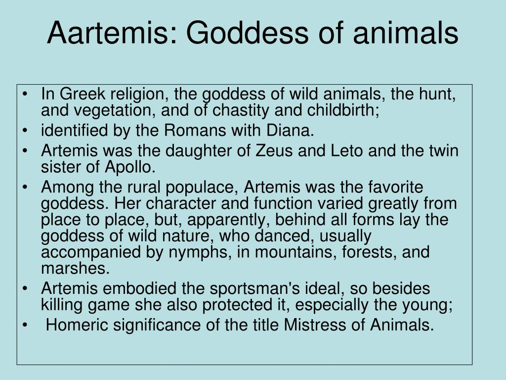 Aartemis: Goddess of animals