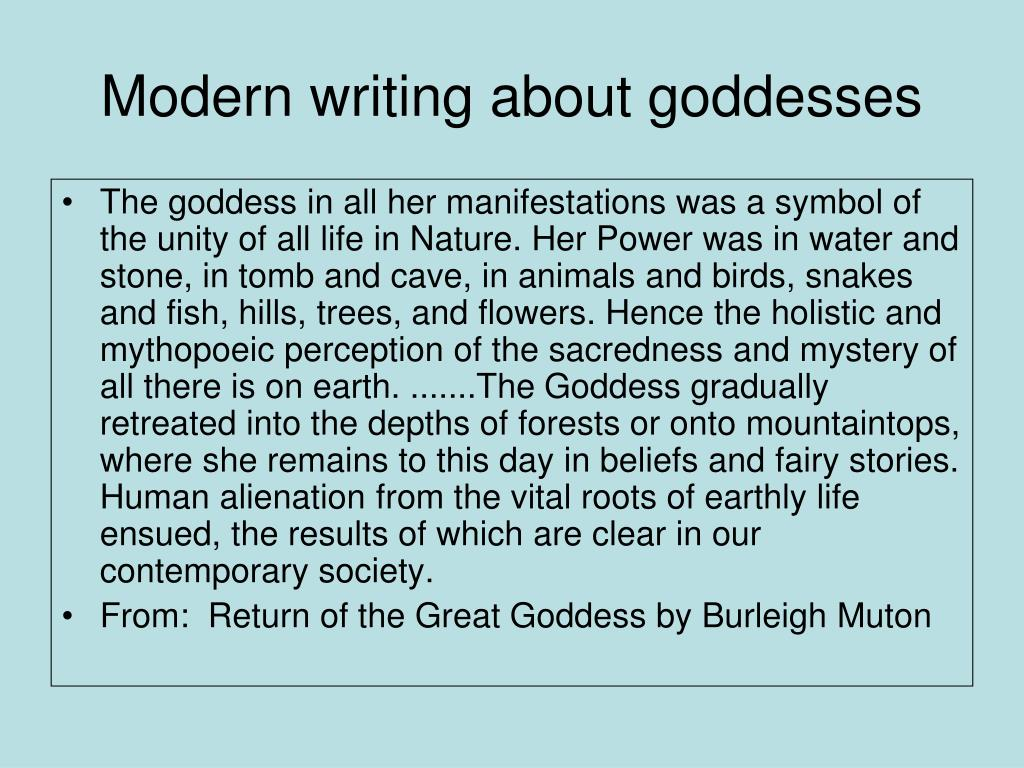Modern writing about goddesses