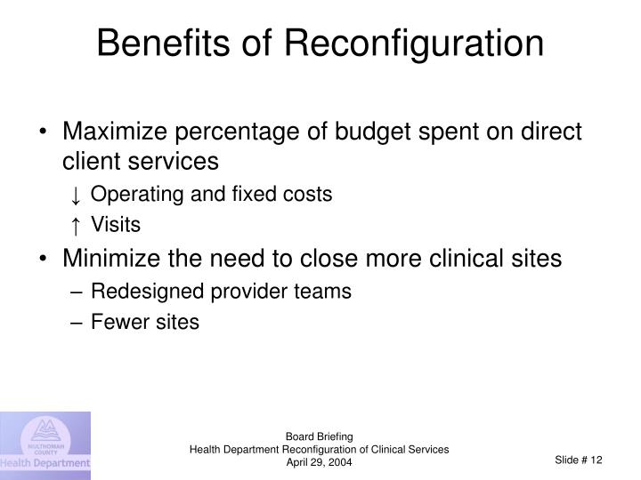 Benefits of Reconfiguration