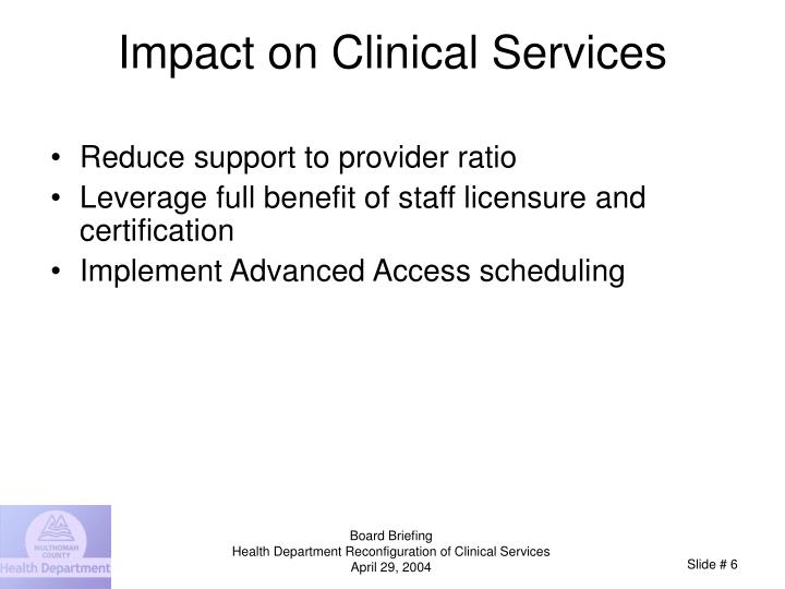 Impact on Clinical Services