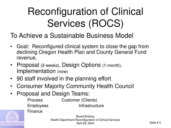 Reconfiguration of clinical services rocs