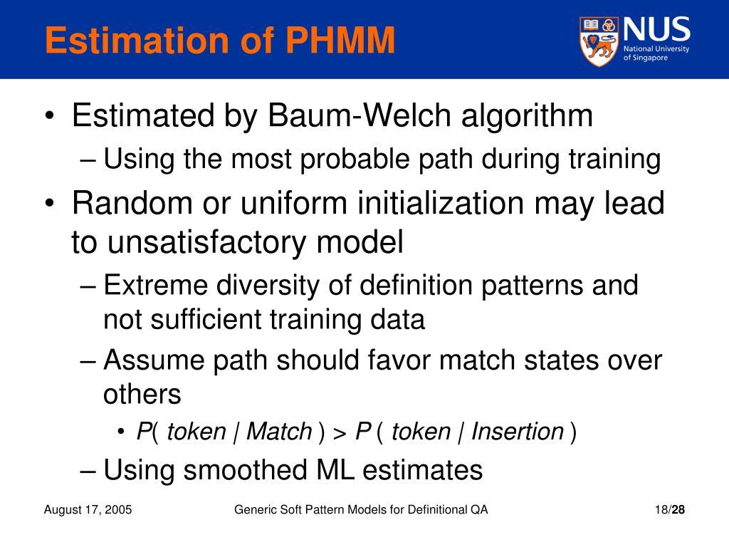 Estimation of PHMM