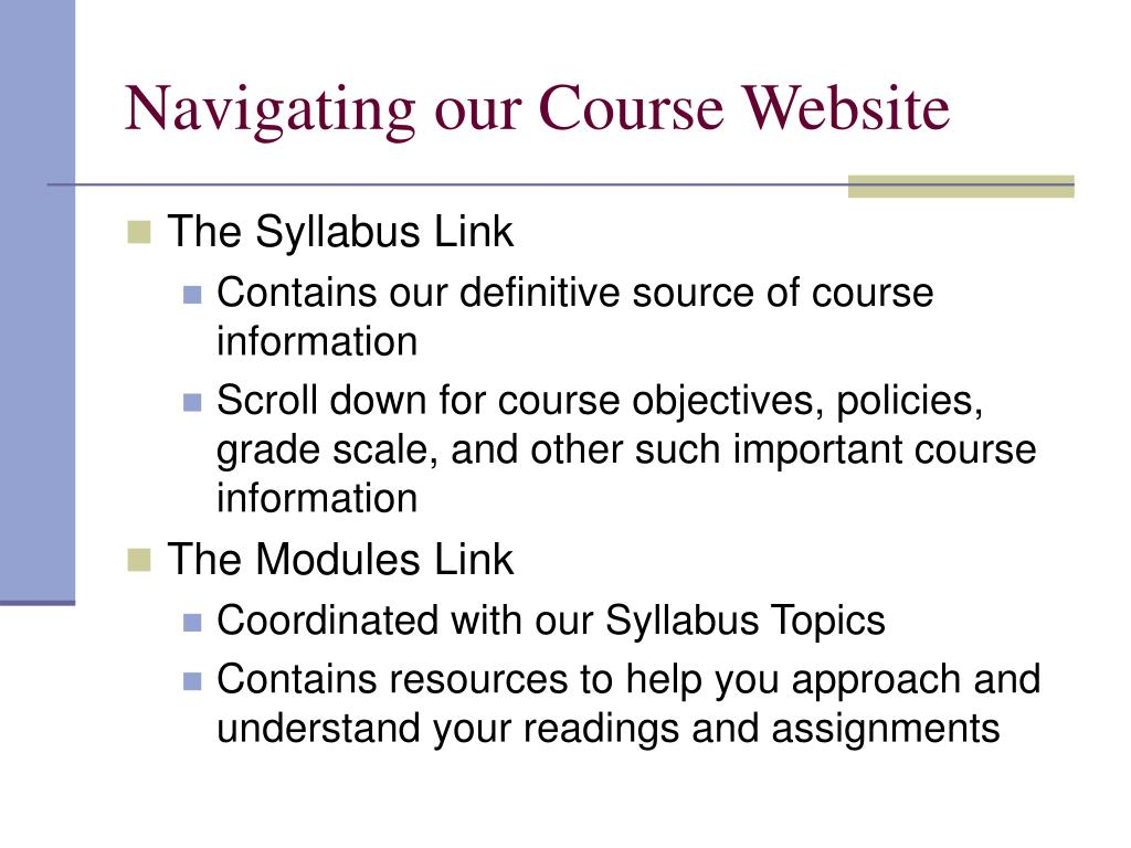 Navigating our Course Website