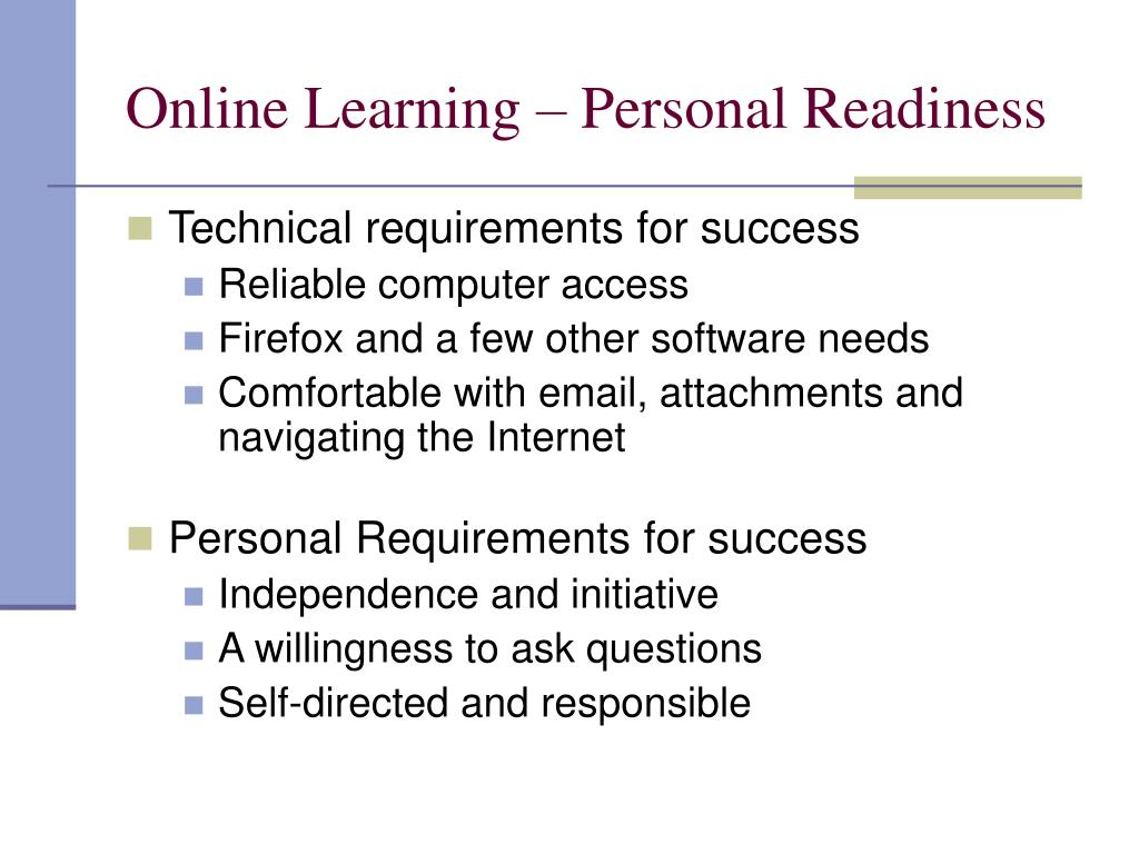 Online Learning – Personal Readiness