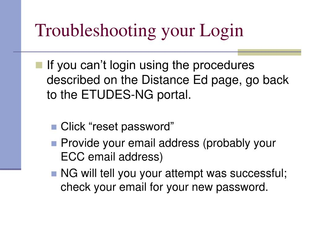 Troubleshooting your Login
