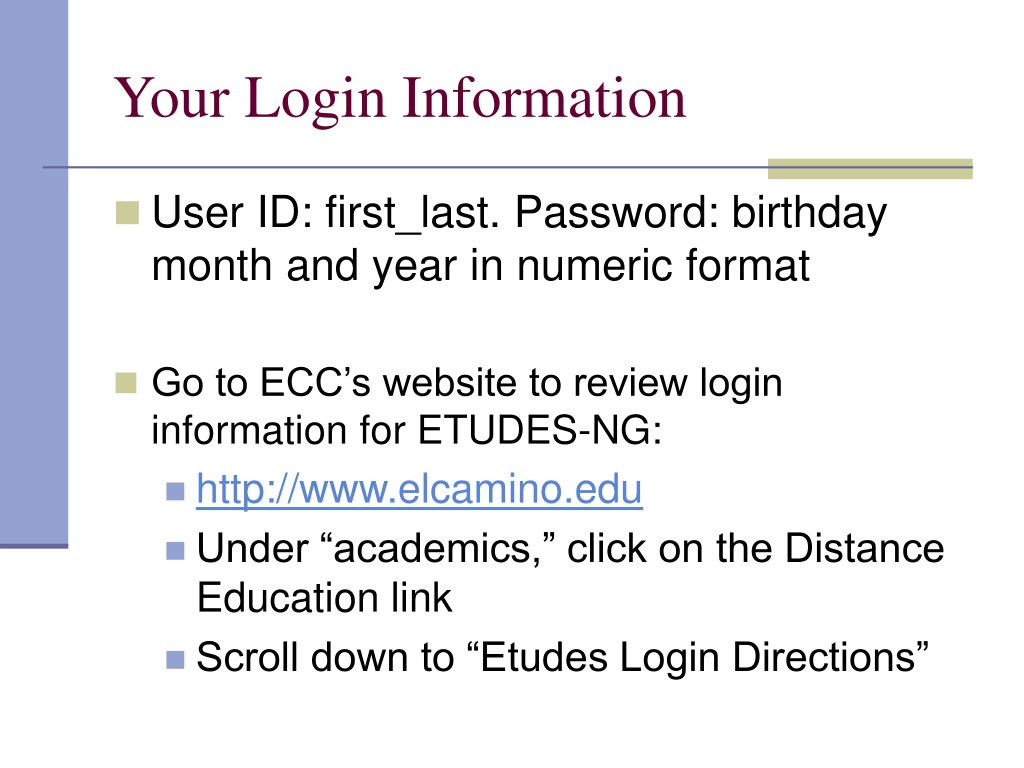 Your Login Information