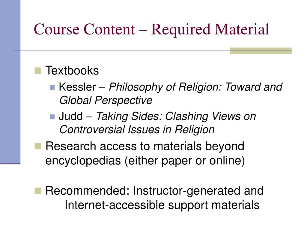 Course Content – Required Material