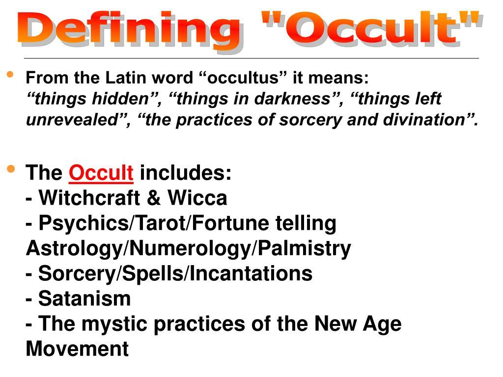 "Defining ""Occult"""