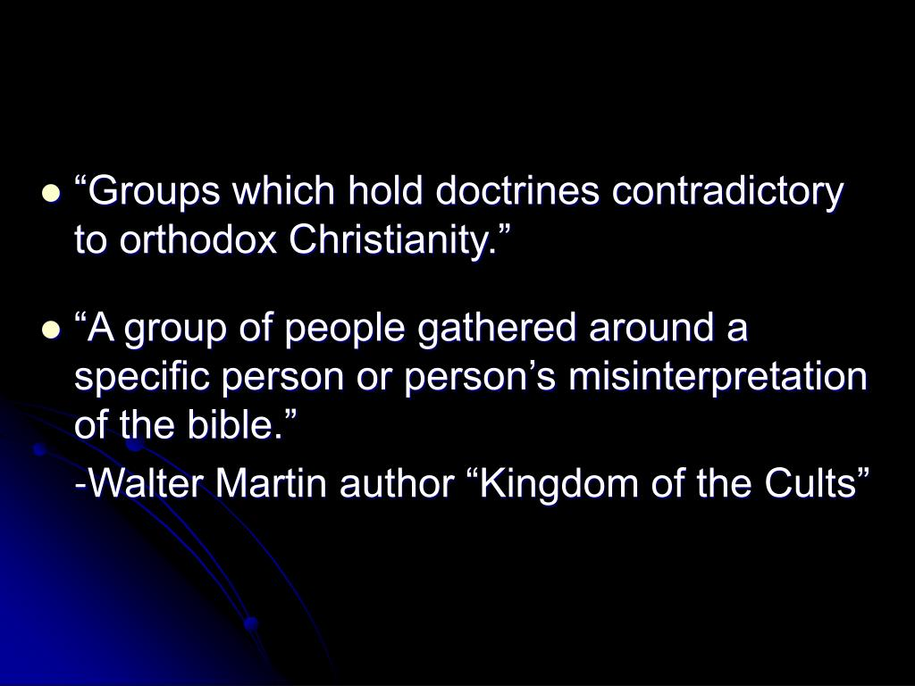 """Groups which hold doctrines contradictory to orthodox Christianity."""