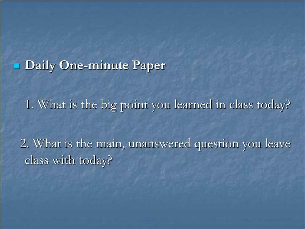 Daily One-minute Paper