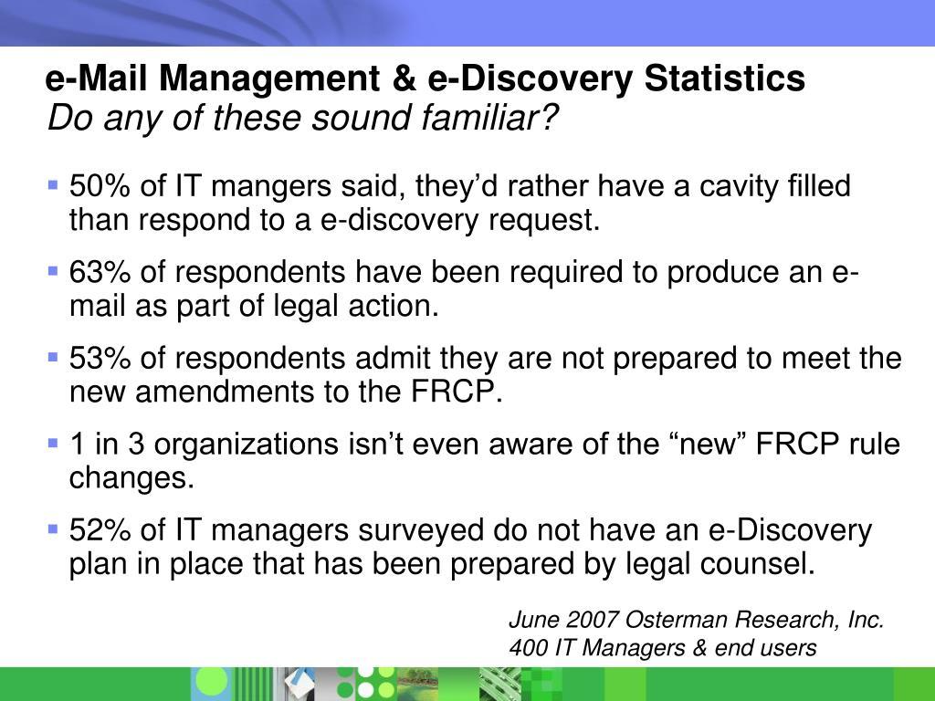 e-Mail Management & e-Discovery Statistics