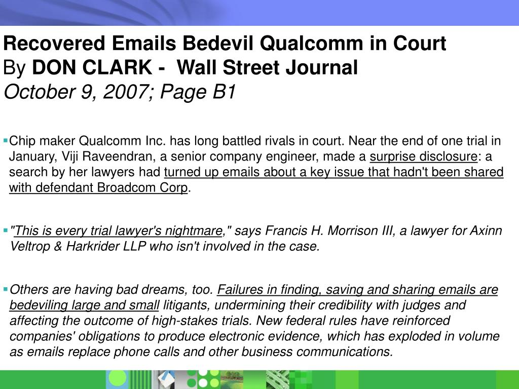 Recovered Emails Bedevil Qualcomm in Court