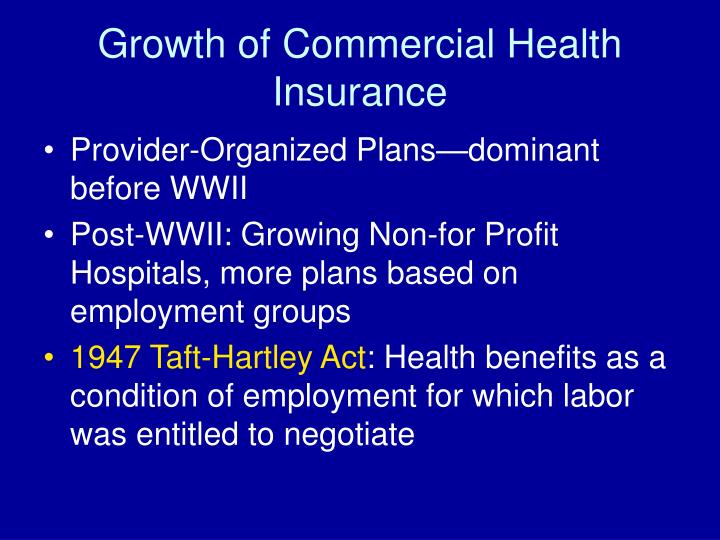 Growth of Commercial Health Insurance