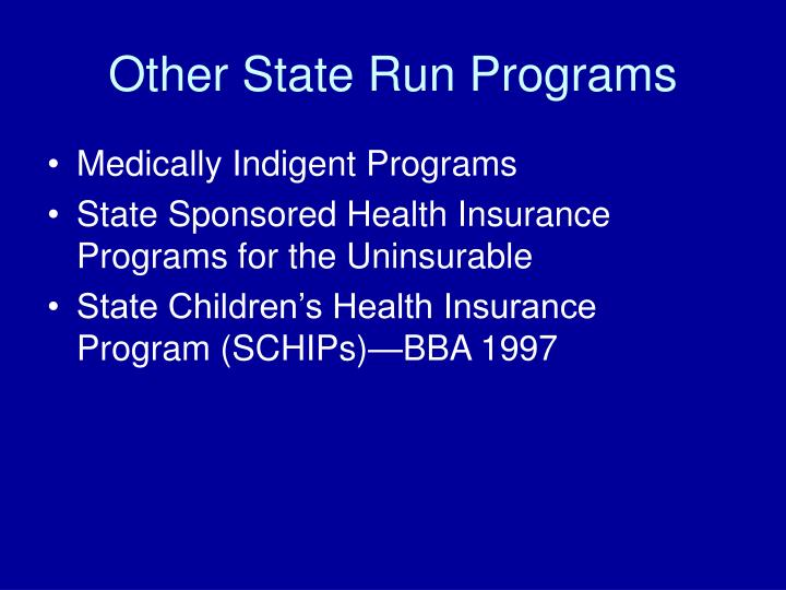 Other State Run Programs