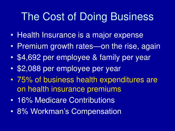 The Cost of Doing Business