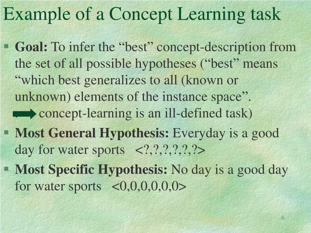 Example of a Concept Learning task