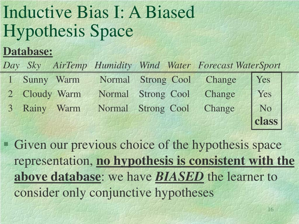 Inductive Bias I: A Biased Hypothesis Space