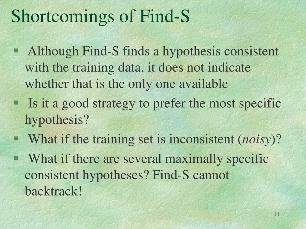 Shortcomings of Find-S