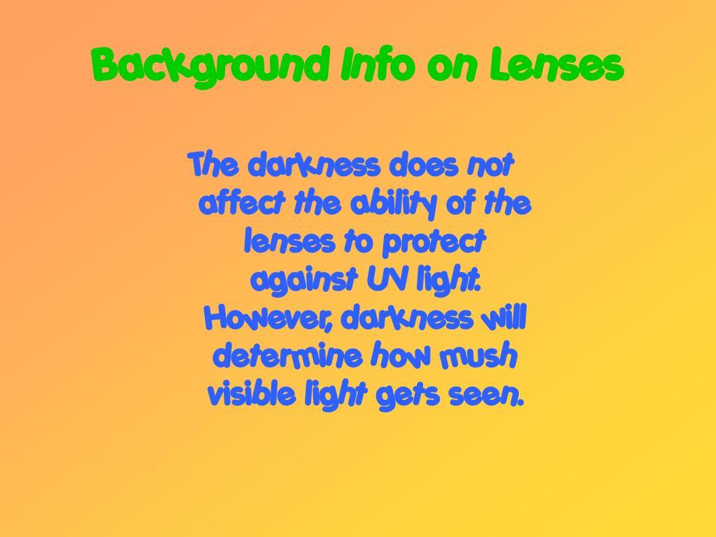 Background Info on Lenses