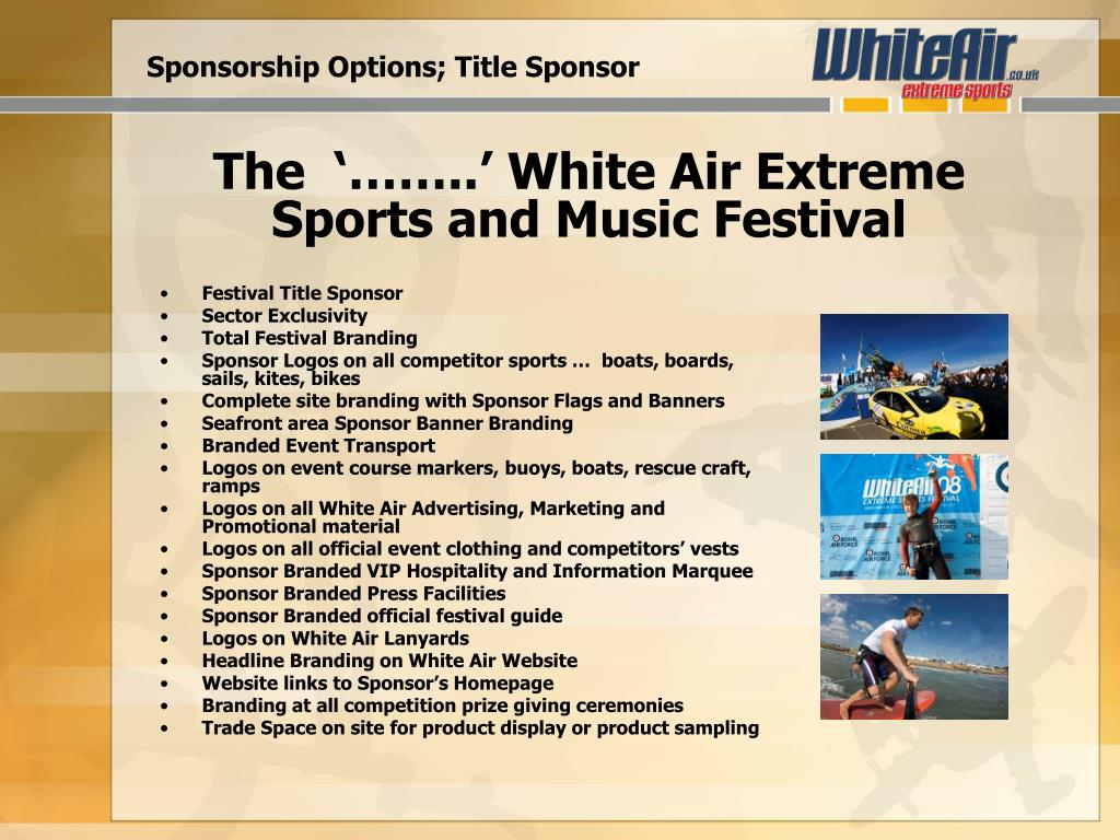 Sponsorship Options; Title Sponsor