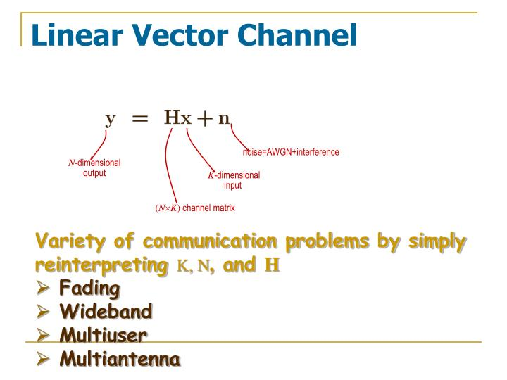 Linear vector channel