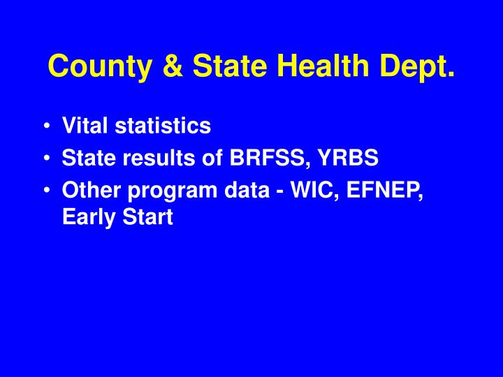 County & State Health Dept.