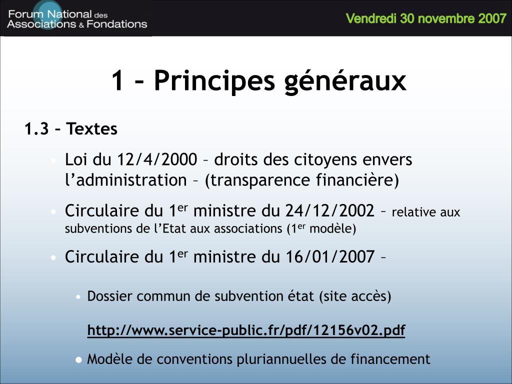 1 – Principes généraux