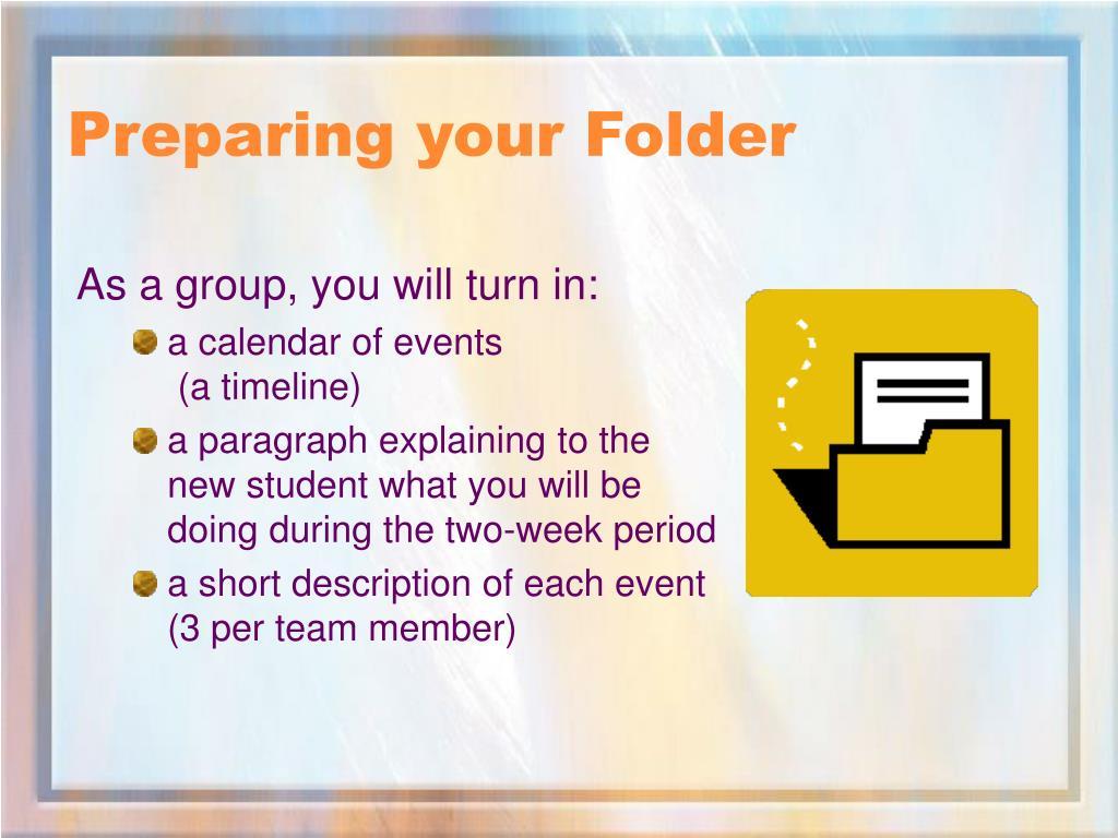 Preparing your Folder