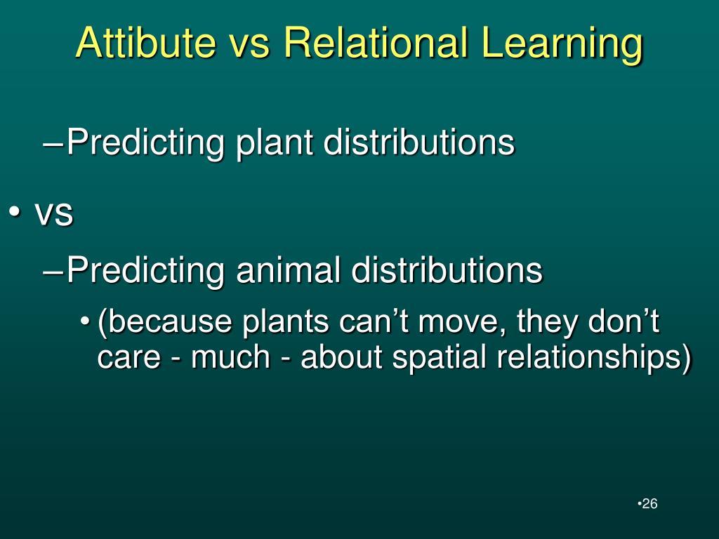 Attibute vs Relational Learning