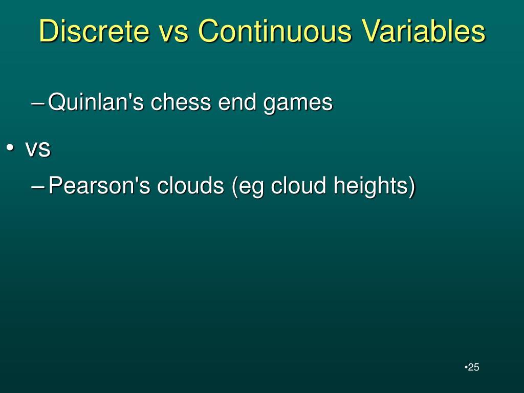 Discrete vs Continuous Variables
